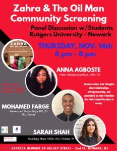 Zahra & The Oil Man Community Screening @ Express Newark 2nd Fl   Newark   New Jersey   United States